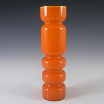 Ryd Scandinavian / Swedish Orange Cased Glass Hooped Vase
