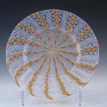 Salviati Murano Zanfirico & Aventurine Yellow Glass Plate