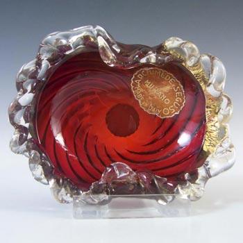 Archimede Seguso Red & Gold Leaf Glass Bowl - Labelled