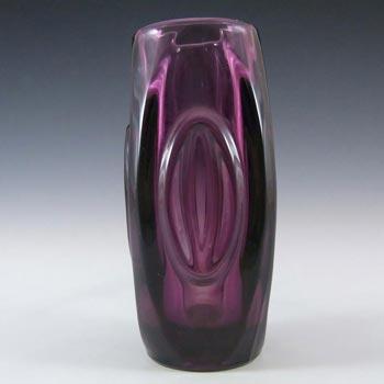 Rosice Sklo Union Purple Glass Lens Vase - Rudolf Schrötter