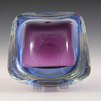 Murano Geode Purple & Blue Sommerso Glass Square Bowl