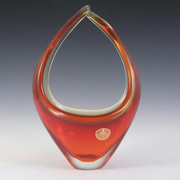 Murano Red & Amber Sommerso Glass Organic Sculpture Bowl