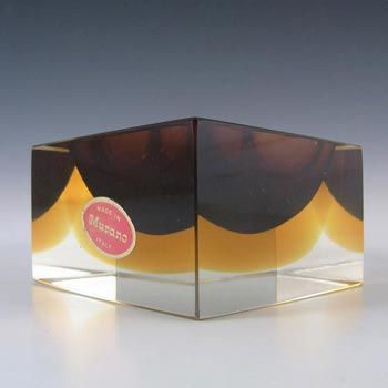 Murano Faceted Brown & Amber Sommerso Glass Block Bowl