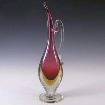 Murano/Venetian Pink & Amber Sommerso Glass Vase/Jug
