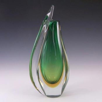 LARGE Murano/Venetian Green & Amber Sommerso Glass Vase