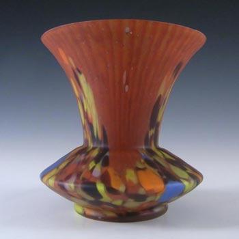 Czech Red & Multicoloured Spatter/Splatter Glass Vase