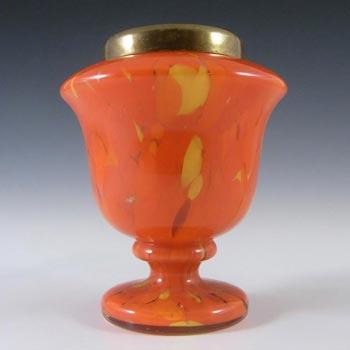 Czech 1930's Orange & Yellow Spatter/Splatter Glass Vase