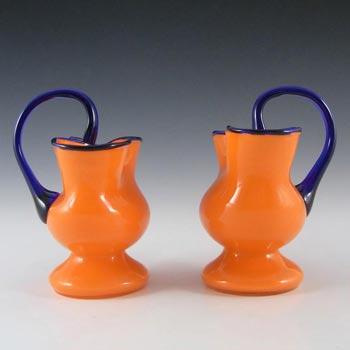 Pair Czech 1930's/40's Orange & Blue Glass Tango Vases/Vase