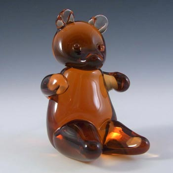 Wedgwood Topaz/Amber Glass Teddy Bear Paperweight SG449