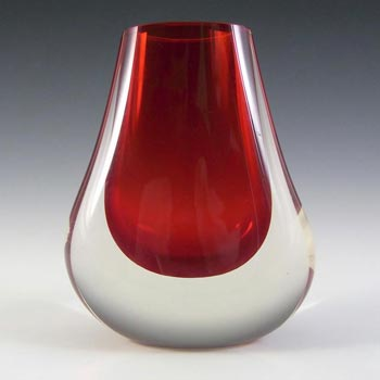 Whitefriars #9656 Baxter Ruby Red Glass Hambone Vase