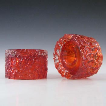 Whitefriars #9733 Baxter Pair Ruby Red Glass Bark Candle Holders