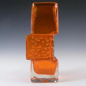 Whitefriars #9673 Baxter Tangerine Glass Drunken Bricklayer Vase