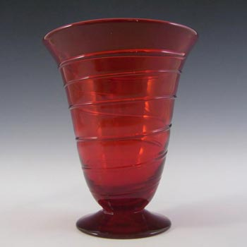 Whitefriars #9296 Ruby Red Glass Ribbon Trail Vase