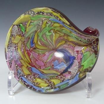 AVeM Murano 1950's Zanfirico + Aventurine Red Tutti Frutti Glass Shell Bowl