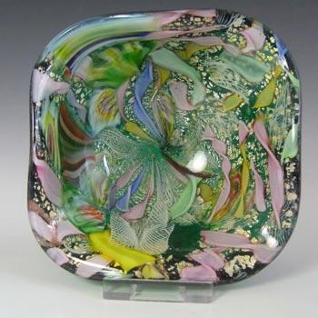 AVeM Murano Zanfirico & Aventurine Green Tutti Frutti Glass Square Bowl