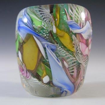 AVeM Murano 1950's Zanfirico + Aventurine Green Glass Vase