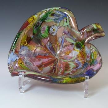 AVeM Murano Zanfirico & Aventurine Red Tutti Frutti Glass Leaf Bowl