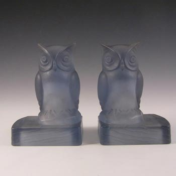 Bagley Art Deco Frosted Blue Glass Owl Bookends / Book Ends