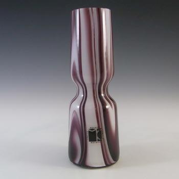 Carlo Moretti Marbled Purple & White Murano Glass Vase
