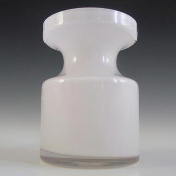 Alsterfors #S5014 Per Strom White Hooped Glass Vase - Signed