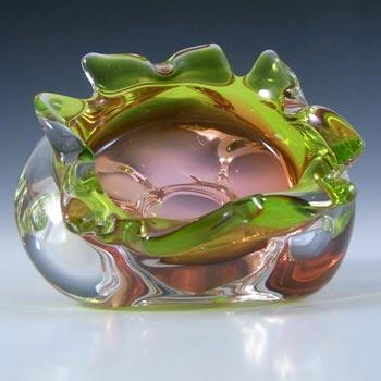 Chribska Czech Green & Orange Glass Bowl by Josef Hospodka