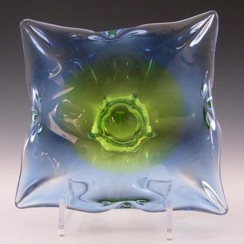 Chribska Czech Blue & Green Glass Bowl by Josef Hospodka