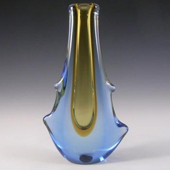 Mstisov Czech Amber/Blue Glass Vase 53094 - Frantisek Zemek