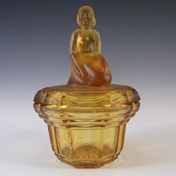 Art Deco Amber Glass Lady Figurine Trinket Pot/Powder Bowl