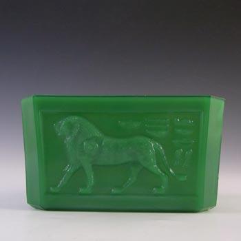 Davidson Art Deco Jade Green Glass 'King Tut' Bowl #291
