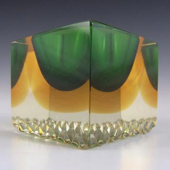 Murano Faceted Green & Amber Sommerso Glass Block Bowl