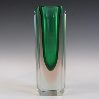 Murano Faceted Green & Pink Sommerso Glass Block Vase