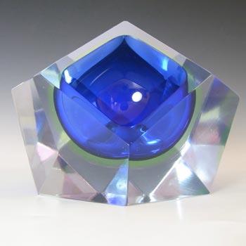 Murano Faceted Blue & Uranium Sommerso Glass Block Bowl