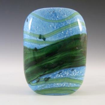 Gozo Maltese Blue & Green Glass 'Seaweed' Vase - Signed