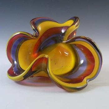 Iwatsu Japanese 'Best Art Glass' Yellow, Blue & Red Bowl