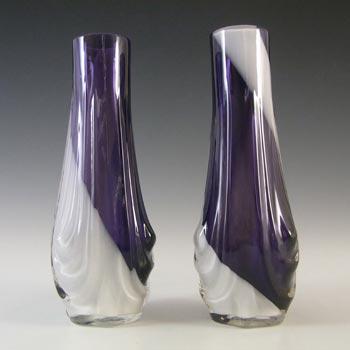 Japanese Pair of Purple & White Art Glass Vases