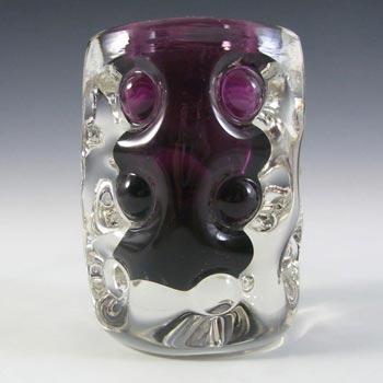 Liskeard 1970's Purple Glass 'Knobbly' Vase by Jim Dyer