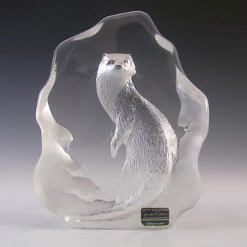 Mats Jonasson #3287 Glass Otter Paperweight - Signed
