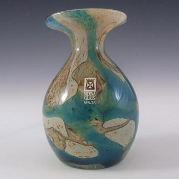 Mdina Maltese 'Tiger' Blue + Brown Glass Vase - Signed