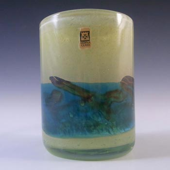 SIGNED Mdina Maltese 'Sea and Sand' Glass Vase, Labelled