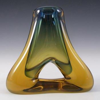 Mstisov Czech Blue & Amber Glass Vase - Frantisek Zemek