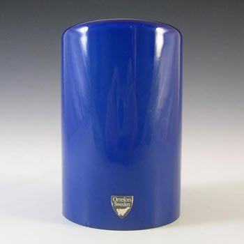 Orrefors Blue Glass 'Eternell' Candle Holder by Owe Elvén