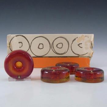 Pukeberg Swedish Orange Glass Candlesticks - Boxed