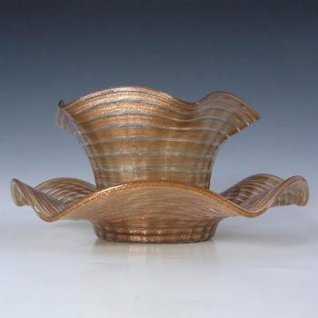 Salviati Copper Aventurine Glass Finger Bowl + Plate