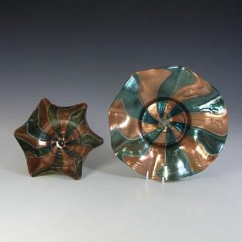 Salviati Green & Copper Aventurine Glass Finger Bowl + Plate
