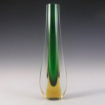 Galliano Ferro Murano Sommerso Green & Amber Glass Stem Vase