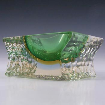 Mandruzzato Murano Faceted Green & Amber Sommerso Glass Bowl