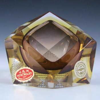 LABELLED Murano Faceted Brown & Amber Sommerso Glass Block Bowl