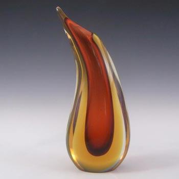 Arte Nuova Pustetto & Zanetti Murano Vintage Amber Sommerso Glass Vase
