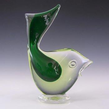 Murano/Venetian Green & Uranium Sommerso Glass Fish