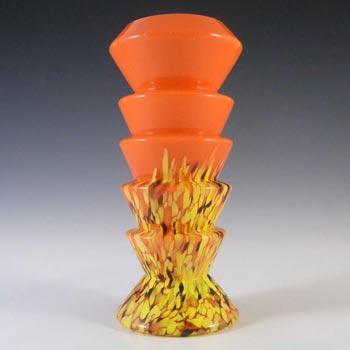 Kralik Czech/Bohemian Orange Spatter Glass Vase
